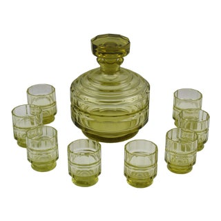 Art Deco Barware Bohemian Crystal Liquor Decanter & Glass Set For Sale