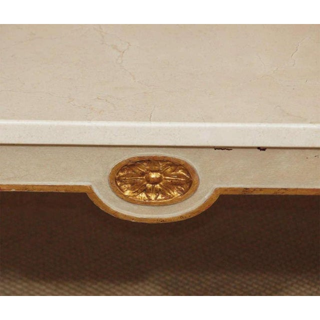 Regency Style Coffee Table With White Marble Top For Sale - Image 4 of 8