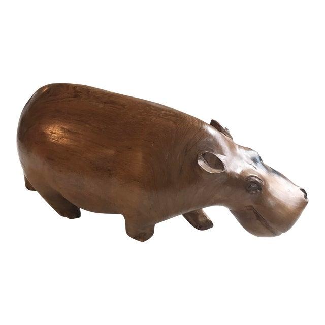 Vintage Carved Wood Hippo Sculpture - Image 1 of 6