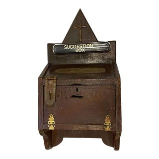 Arts & Crafts Wooden Church Suggestion Box For Sale
