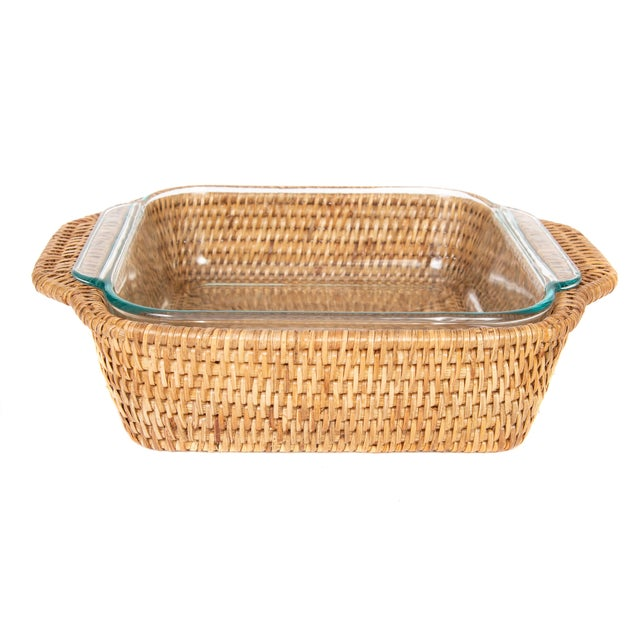 Boho Chic Artifacts Rattan Square Pyrex Holder For Sale - Image 3 of 6