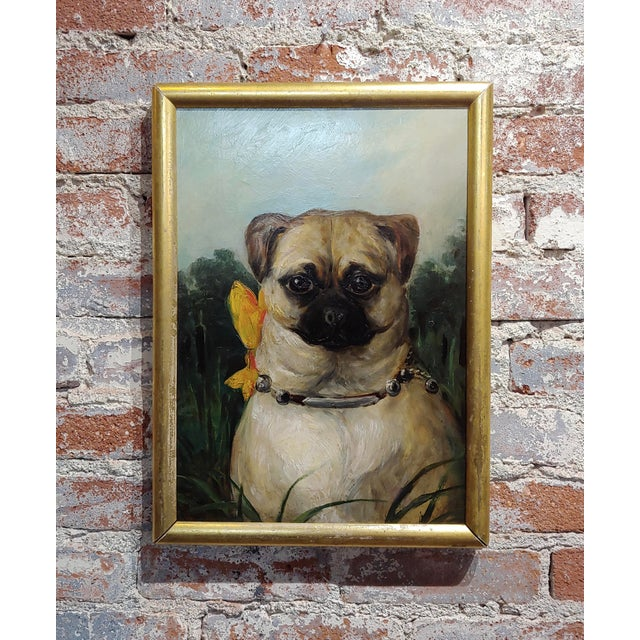 Brown Portrait of a Cute Pug -English School Oil Painting For Sale - Image 8 of 8
