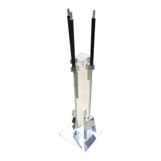 1970s Vintage Lucite & Chrome Fireplace Tools
