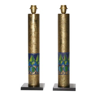 Italian Copper Table Lamps - A Pair For Sale