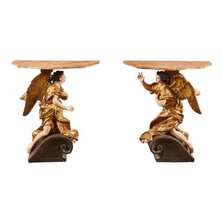 18th Century Italian Baroque Basilica Angel Tables For Sale