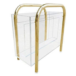 Brass and Lucite Magazine Holder by Charles Hollis Jones For Sale