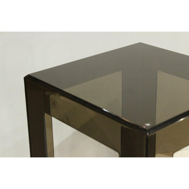 French Final Markdown 1970s Vintage Les Prismatiques Smoke Lucite Side Table For Sale - Image 3 of 4