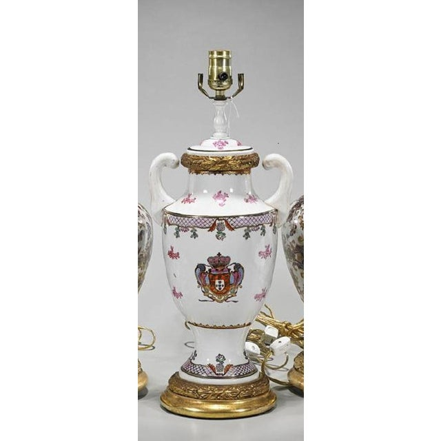 Antique Chinese Armorial Crest Pottery Table Lamp For Sale - Image 4 of 4
