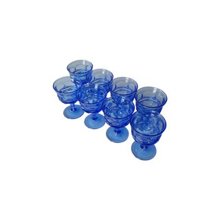 Blue Fostoria Glass Champagne Coupes - Set of 8