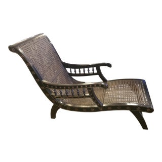 Vintage Chaise Lounge With Cane Mesh & Carved Frame For Sale