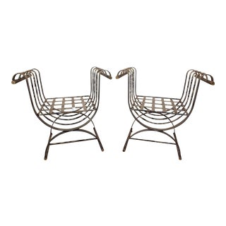 Metal Garden Benches - A Pair For Sale