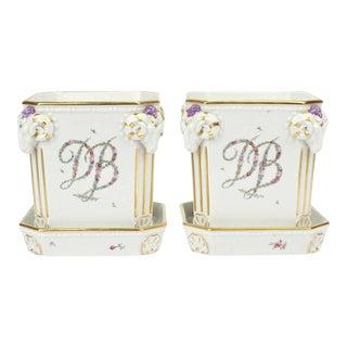 Royal Copenhagen Porcelain Cachepots with Floral Garland Initials - A Pair For Sale