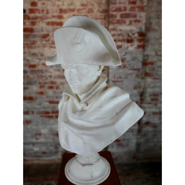 Napoleon Bonaparte Emperor 19th Century Marble Bust Hand Carved Carrara Marble Bust of Napoleon For Sale - Image 4 of 12