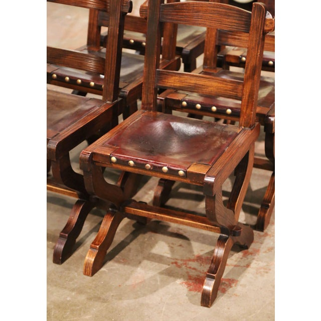 Metal Spanish Carved Oak and Leather Dining Chairs, Set of 6 Side Chairs 2 Armchairs For Sale - Image 7 of 9