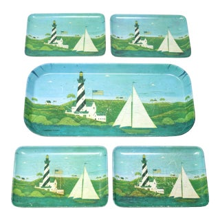 Vintage Italian Made in Italy Set of Colonial Nautical Themed Melamine Trays - Set of 5 For Sale
