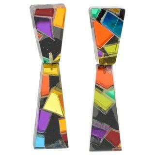 Harriet Bauknight for Kaso Oversized Lucite Clip on Earrings Harlequin Pattern For Sale