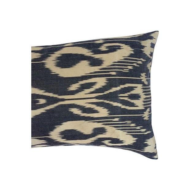 Black & Neutral Silk Ikat Pillow - Image 3 of 4