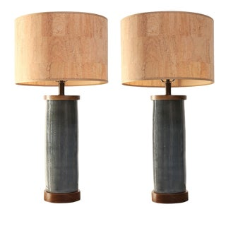 Two Gray Ceramic Cylinder Shape Lamps For Sale