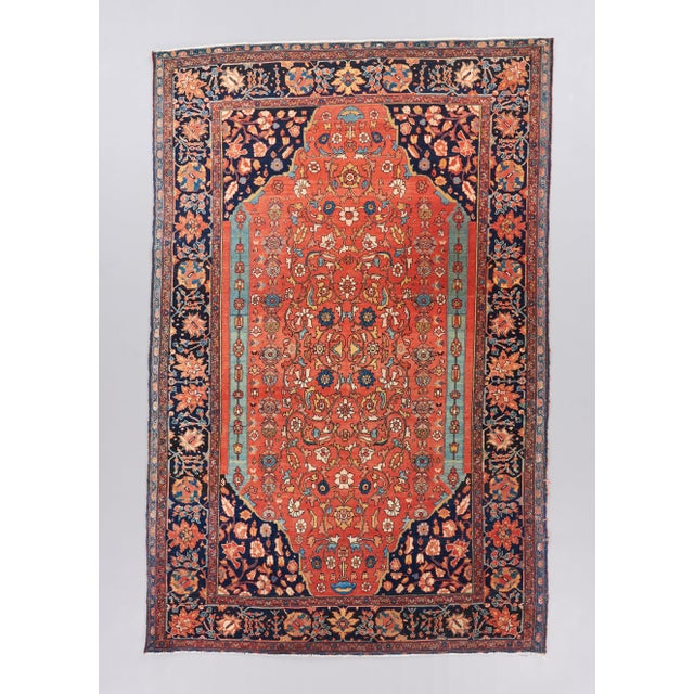 Late 19th Century Red Ground Farahan Sarouk Rug - 4′4″ × 6′6″ For Sale - Image 4 of 4