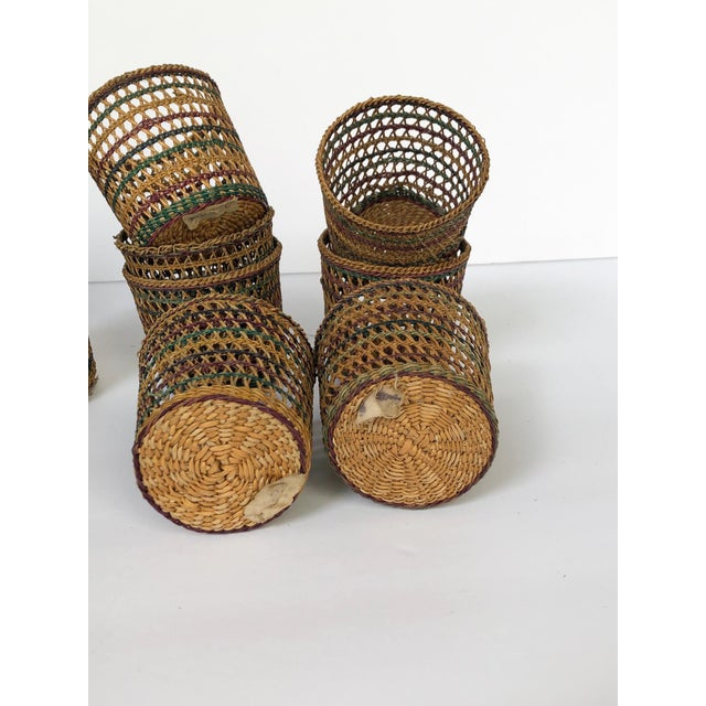 Vintage Wicker Glass Cozies Coasters, Set of 12 For Sale In Richmond - Image 6 of 7