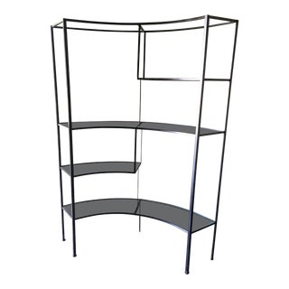 Frederic Weinberg Clear Glass Wrought Iron Shelf
