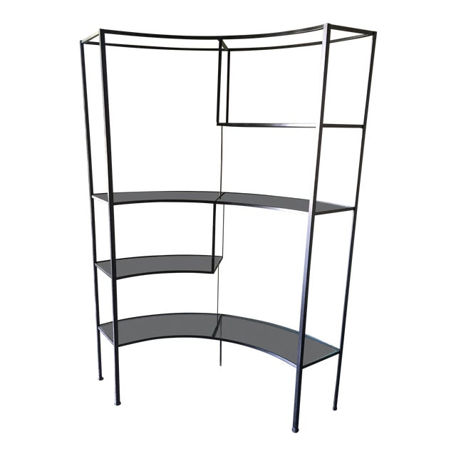 Frederic Weinberg Clear Glass Wrought Iron Shelf For Sale