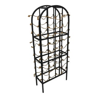 Vintage Iron and Rope Boho Chic Wine Rack For Sale
