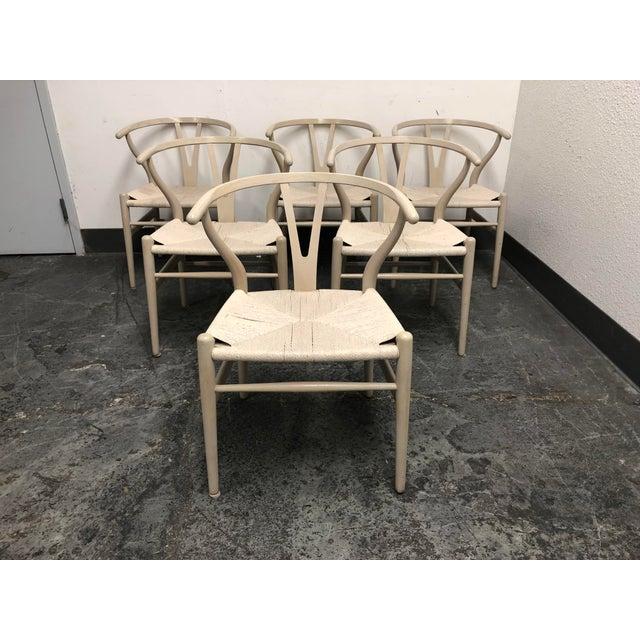 Set of Six Mid-Century Hans Wegner Wishbone Chairs For Sale - Image 4 of 12