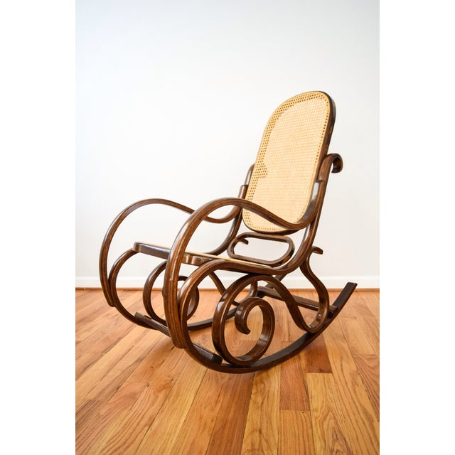 Vintage Thonet Style Bentwood Cane Rocking Chair - Image 6 of 6