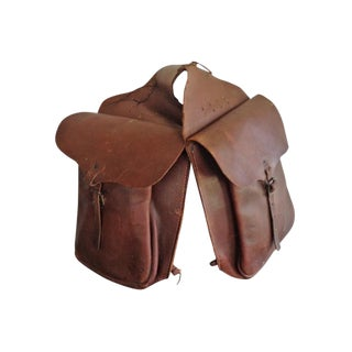 Vintage Leather Mail Saddlebags - A Pair For Sale