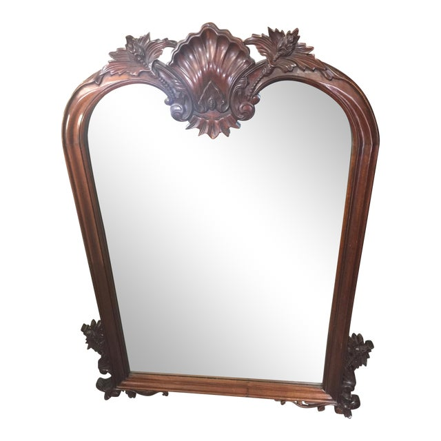 1980s Carved Mahogany Mirror For Sale