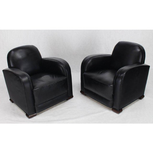 Deco Style Black Leather Thick Arm Rests Lounge Tank Chairs - a Pair For Sale - Image 9 of 10
