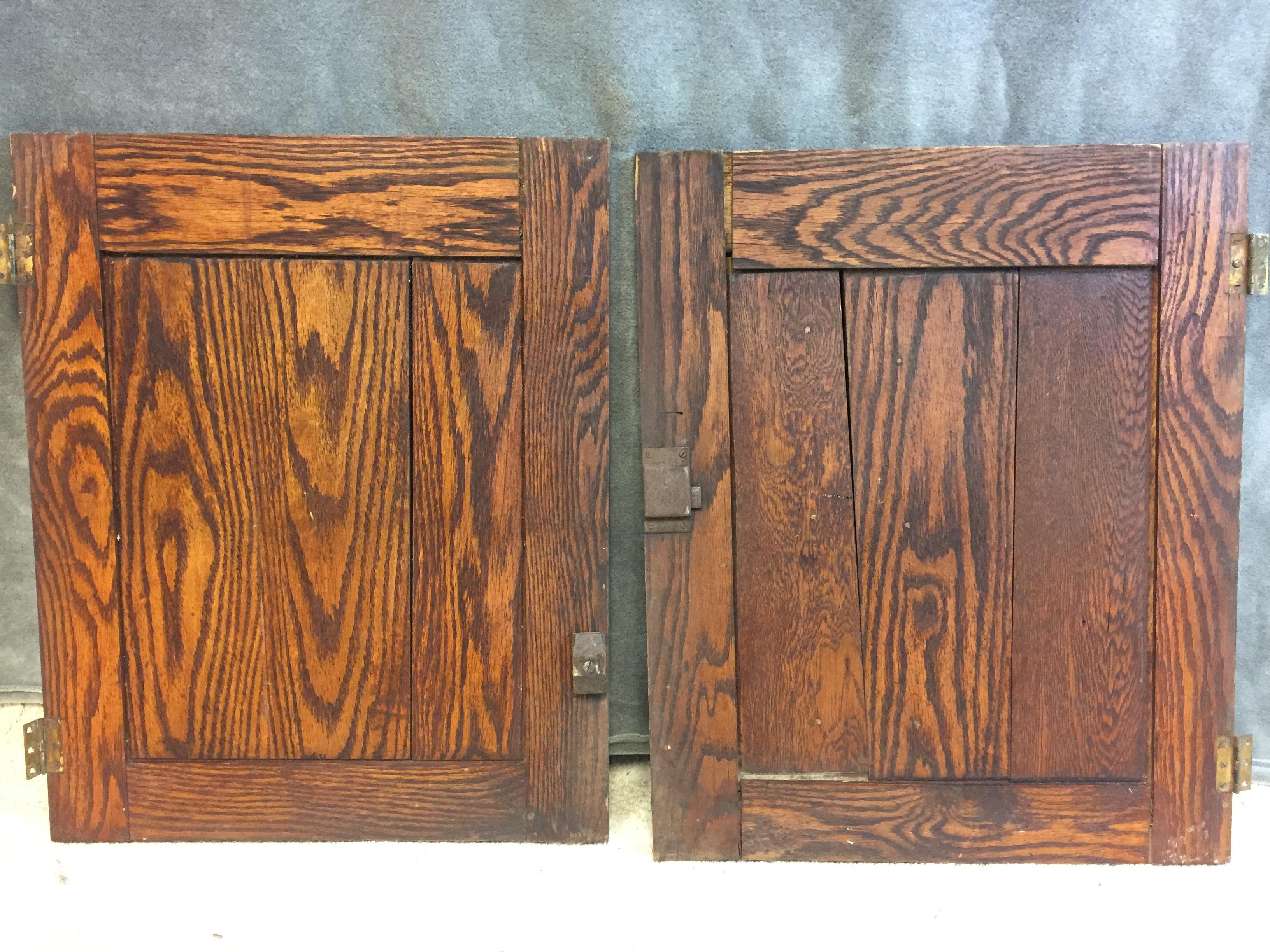 Vintage Rustic Wood Cabinet Doors   A Pair   Image 2 Of 11