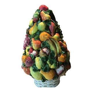 Large Hand Painted Italian Pottery Fruit Topiary