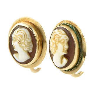Victorian Shell Cameo & Gold Earrings Preview
