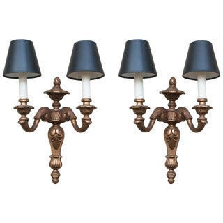 Pair of Neoclassical Style Giltwood Sconces For Sale