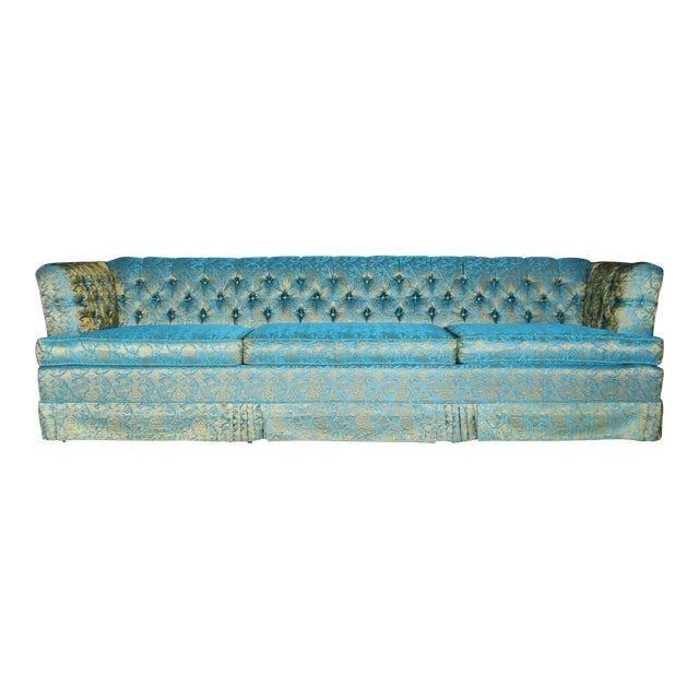 Blue and Gold Tufted Sofa by Howard Palmer for Harmony House For Sale