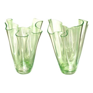 1930s Murano Art Deco Chartreuse Glass Handkerchief Vases - a Pair For Sale