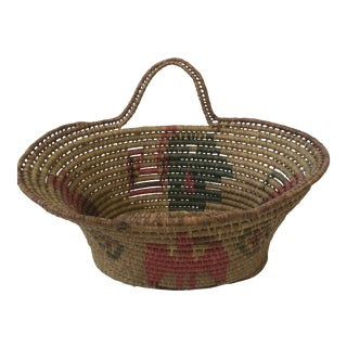 Vintage Handwoven Oval Basket With Handles For Sale