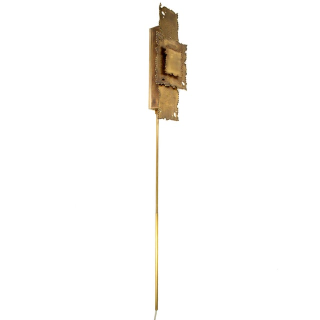 2010s Brass Brutalist Torch Cut Sconces - a Pair For Sale - Image 5 of 8