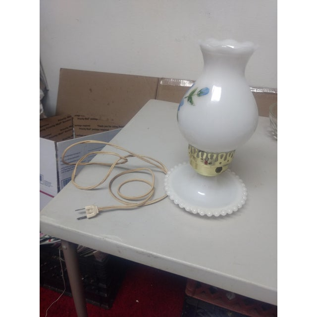 Vintage Hand Painted Milk Glass Lamp For Sale - Image 4 of 5