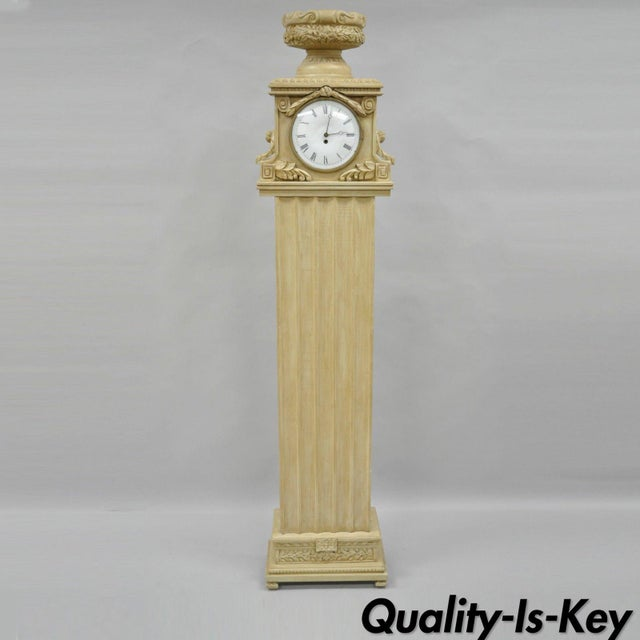 French Regency Empire Style Cream Painted Grandfather Case Standing Clock For Sale - Image 13 of 13