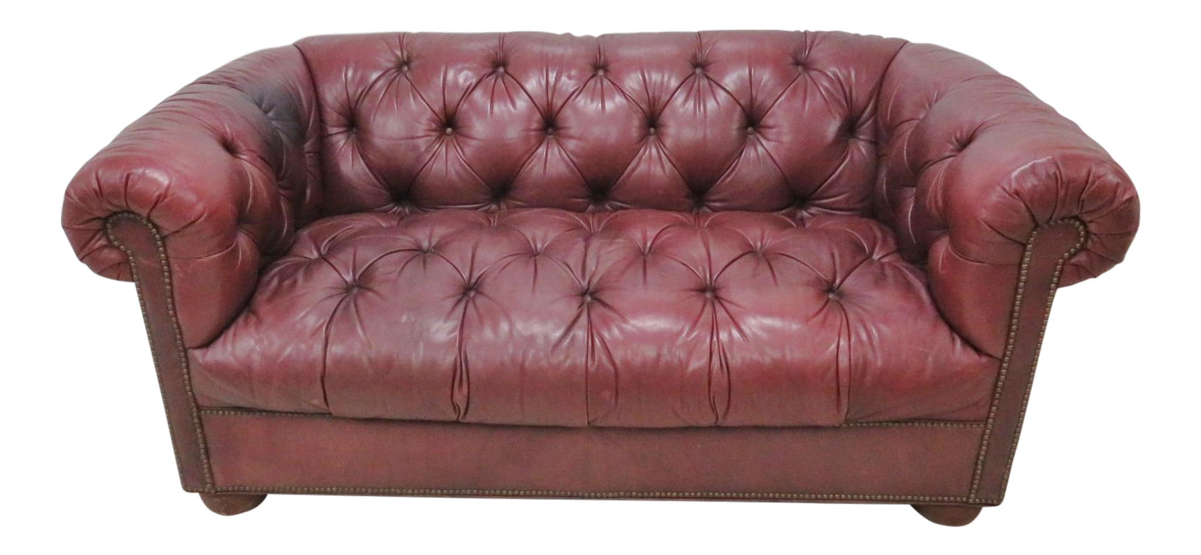 Burgundy Tufted Leather Chesterfield Sofa