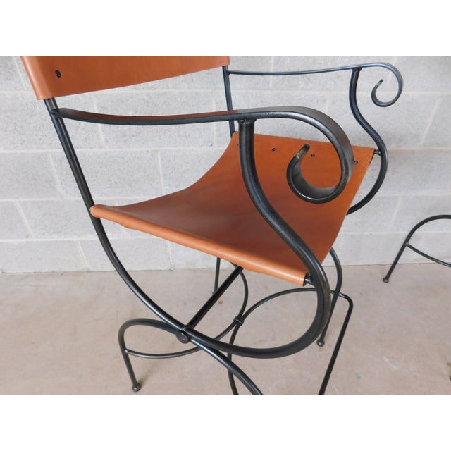 Charleston Forge Wrought Iron Slight Leather Seat Bar Stools - a Pair For Sale - Image 4 of 13