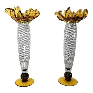Contemporary Hand Blown Glass Sculptural Candle Holders Ioan Nemtoi Style - a Pair For Sale