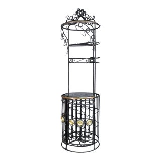 Cylindrical Black Wrought Iron Italian Bronze Ornamented Wine Rack, Circa 1950s For Sale