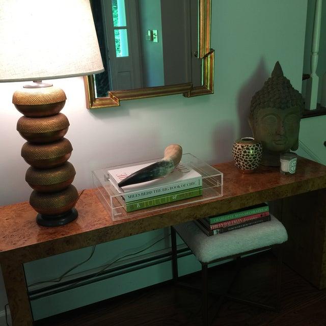 Milo Baughman Burlwood Parsons Console Table - Image 9 of 10