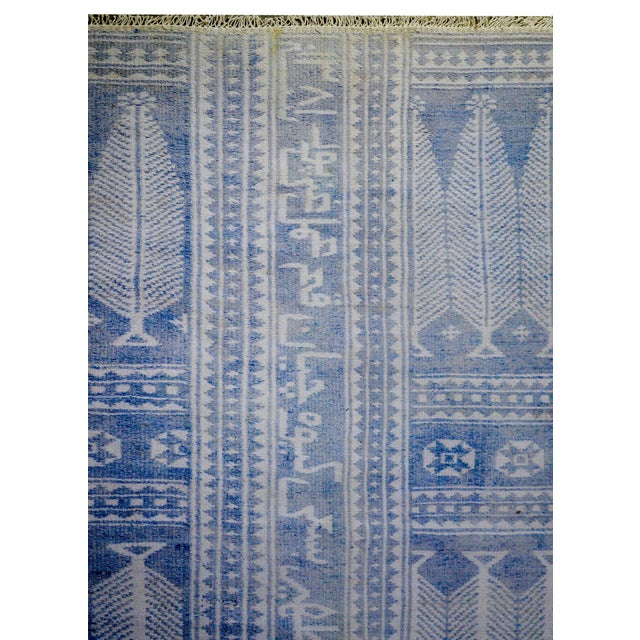 Textile Vintage Blue and White Yadz Kilim For Sale - Image 7 of 9