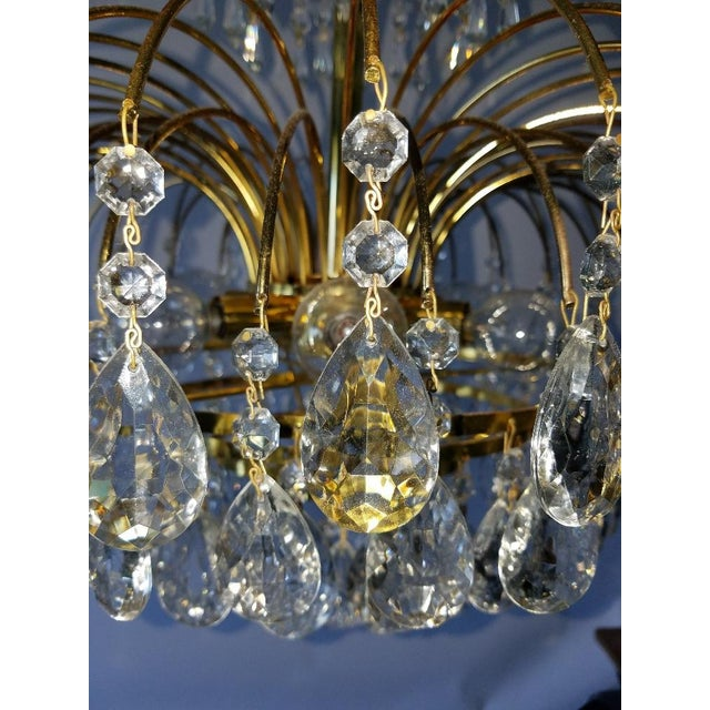 Mid-Century Crystal & Brass Plated Spider Chandelier - Image 7 of 11