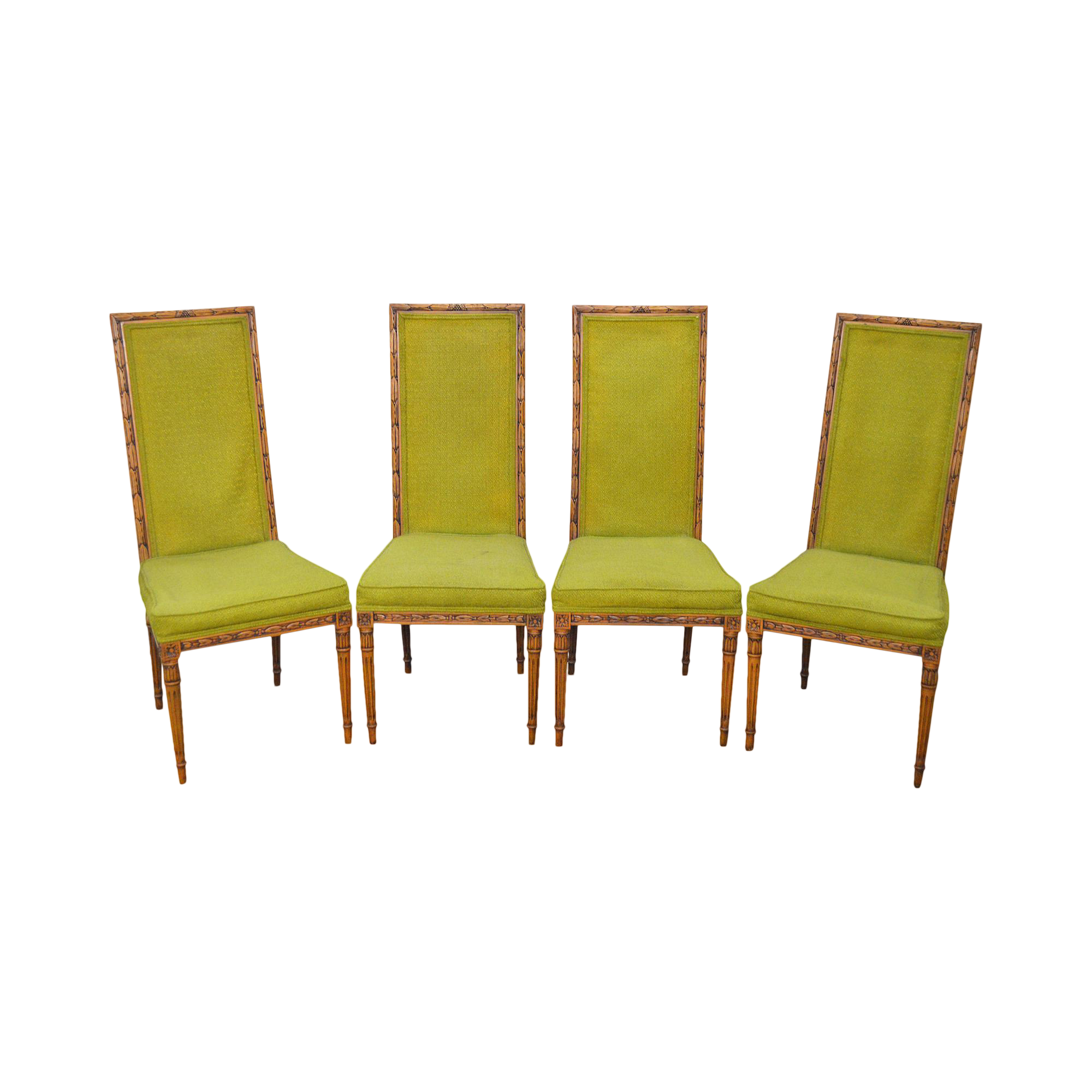 Vintage Karges French Louis XVI Style Carved Walnut Frame Dining Chairs    Set Of 4